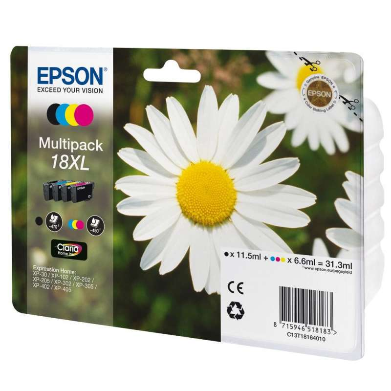 epson 18xl multipack pack de 4 noir 3 couleurs. Black Bedroom Furniture Sets. Home Design Ideas