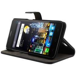 Muvit Etui folio Slim pour Alcatel One Touch Idol S Noir