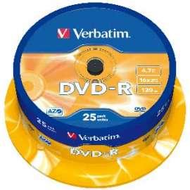 Pack de 25 DVD-R Verbatim capacité 4,7 GO
