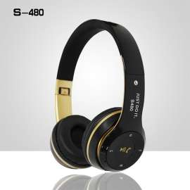 Casque Sans Fil Bluetooth Portable Pliable S480 noir/or