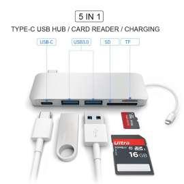 HUB Lecteur carte 5 en 1-USB 3.0 vers USB-C pour Apple MacBook